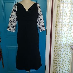 NWT, Button back, embroidered sleeves, draped neck